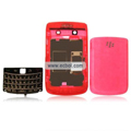 Transparent Compatible Front And Back Housing With Keypad Fullset For Blackberry 9700 Mobile Phone - Red