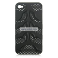 Fishbone Net Pattern Plastic Back Case for Apple iPhone 4th / 4G - Black