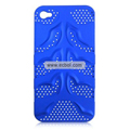 Fishbone Net Pattern Plastic Back Case for Apple iPhone 4th / 4G - Blue