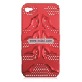 Fishbone Net Pattern Plastic Back Case for Apple iPhone 4th / 4G - Red