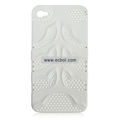 Fishbone Net Pattern Plastic Back Case for Apple iPhone 4th / 4G - White