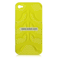Fishbone Net Pattern Plastic Back Case for Apple iPhone 4th / 4G - Yellow