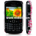 Pink Heart Rhinestone 3D Bling Case For Blackberry 8520