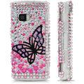 100% Brand New Black Butterfly 3D Crystal Bling Hard Plastic Case For Nokia X6