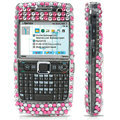 100% Brand New Pink Hearts 3D Crystal Bling Hard Plastic Case For Nokia E71