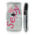 100% Brand New Pink Sexy Crystal Bling Hard Plastic Case For Sony Ericsson Vivaz