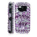 100% Brand New Purple Happy Day 3D Crystal Bling Hard Plastic Case For Nokia Mini N97