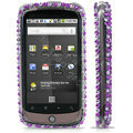 100% Brand New Purple Stripe Crystal Bling Hard Plastic Case For HTC Nexus One