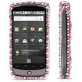 100% Brand New Pink Hearts Crystal Bling Hard Plastic Case For HTC Nexus One