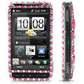 100% Brand New Pink Hearts Rhinestone Crystal Bling Hard Plastic Case For HTC HD2