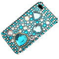 100% Brand New Blue Crystal Bling Rhinestone Diamond Case Skin Cover For iPhone 4 4G