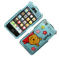 100% Brand New Crystal Blue Winne The Pooh Bling Rhinestone Diamond Case Skin Cover For iPhone 4 4G