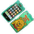 100% Brand New Crystal Green Winne The Pooh Bling Rhinestone Diamond Case Skin Cover For iPhone 4 4G