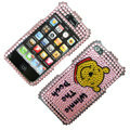 100% Brand New Crystal Pink Winne The Pooh Bling Rhinestone Diamond Case Skin Cover For iPhone 4 4G