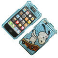 100% Brand New Crystal Sky Blue Snoopy Bling Rhinestone Diamond Case Skin Cover For iPhone 4 4G