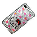 100% Brand New Cute Hello Kitty Crystal Bling Rhinestone Diamond Case Skin Cover For iPhone 4 4G