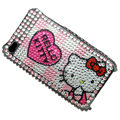 100% Brand New Heart Hello Kitty Crystal Bling Rhinestone Diamond Case Skin Cover For iPhone 4 4G