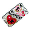 100% Brand New Love Crystal Bling Rhinestone Diamond Case Skin Cover For iPhone 4 4G