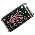 100% Brand New Pink Butterfly Crystal Bling Rhinestone Diamond Case Skin Cover For iPhone 4 4G