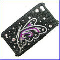 100% Brand New Purple Butterfly Crystal Bling Rhinestone Diamond Case Skin Cover For iPhone 4 4G