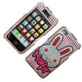 100% Brand New Rabbit Crystal Bling Rhinestone Diamond Case Skin Cover For iPhone 4 4G