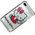 100% Brand New White Hello Kitty Crystal Bling Rhinestone Diamond Case Skin Cover For iPhone 4 4G