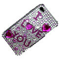 100% Brand New I Love You Crystal Bling Rhinestone Diamond Case Skin Cover For iPhone 4 4G