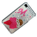 100% Brand New Ice Cream Crystal Bling Rhinestone Diamond Case Skin Cover For iPhone 4 4G