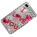 Pink Luxurious Crystal Bling Rhinestone Diamond Case Skin Cover For iPhone 4 4G