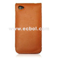 Vertical Flip Open Leather Case for Apple iPhone 4th / 4G - Orange