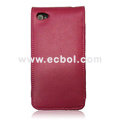 Vertical Flip Open Leather Case for Apple iPhone 4th / 4G - Rose