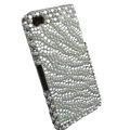 zebra iphone 4G case pearl crystal cover - white