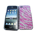 zebra iphone 3G case pearl crystal cover - pink 01