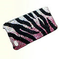 Zebra iphone 4G case crystal bling cover - black pink