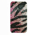 Zebra iphone 4G case crystal bling cover - black purple