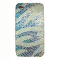 Zebra iphone 4G case crystal diamond bling cover - blue