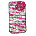 Zebra iphone 4G case crystal bling cover Bow - Rose