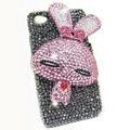 Rabbit Crystal bling case for iphone 4G - pink EB001