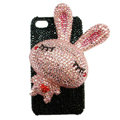 Rabbit Crystal bling case for iphone 4G - pink EB005
