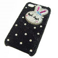 Rabbit Crystal bling case for iphone 4G - white EB007