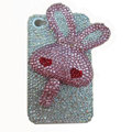 Rabbit Crystal bling case for iphone 3G - pink heart
