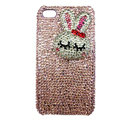 Rabbit Crystal bling case for iphone 3G - pink EB006