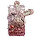 Rabbit Crystal bling case for iphone 4G - pink EB008