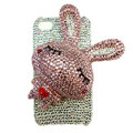 Rabbit Crystal bling case for iphone 4G - pink EB010