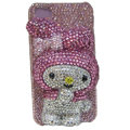 Rabbit Crystal bling case for iphone 4G - pink EB011