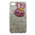 Rabbit Crystal bling case for iphone 4G - rose