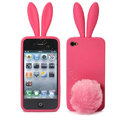 Rabbit ears Silicone case for iphone 4G - red