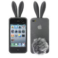 Rabbit ears Silicone case for iphone 4G - transparent black