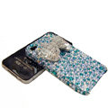 Swarovski crystal bling Butterfly case for iphone 4 - cyan