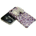 Swarovski crystal bling Butterfly case for iphone 4 - purple